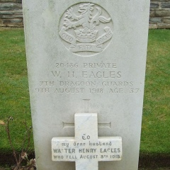 2 stones on CWGC  grave of Walter Henry Eagles