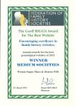 Geoff Riggs Award certificate